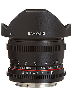 Cine SYHD8MV-C HD 8mm t/3.8 Fisheye Lens with De-Clicked Aperture and Removable Hood for Can by Samyang in Black, Toys