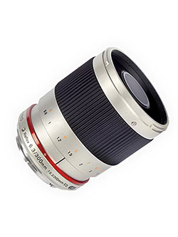 SY300M-FX-S 300mm F6.3 Mirror Lens for Fuji X Mirrorless Interchangeable Lens Cameras by Samyang in Silver