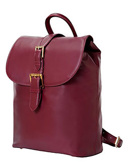 Kathryn mini Camera Backpack in Genuine Leather for DSLR Cameras, Lenses, Accessories by Isaac Mizrahi in Burgundy
