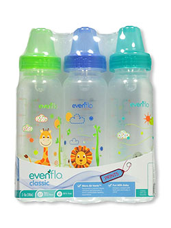 3-Pack Classic Standard Neck Baby Bottles by Evenflo in blue and pink