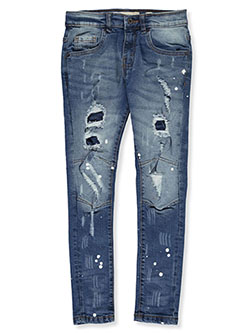 Reinforced Knee Skinny Jeans by Evolution In Design in Blue, Boys Fashion