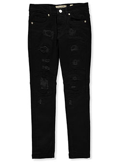 Boys' Vertical Rip Skinny Jeans by FWRD in Black