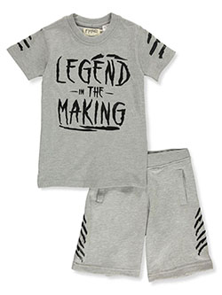 Boys' 2-Piece Legend Shorts Set Outfit by FWRD in black and heather gray