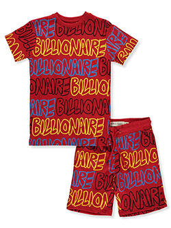 2-Piece Billionaire Shorts Set Outfit by Evolution In Design in Red, Boys Fashion
