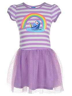 "Finding Dory Little Girls' ""Rainbow Stripe"" Dress (Sizes 4 – 6X) - CookiesKids.com"