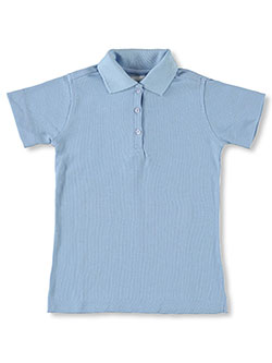 Big Girls' S/S Knit Polo by Elderwear in blue and white