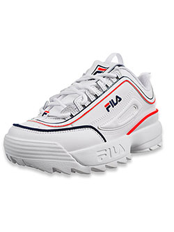 Fila Boys' Disruptor II Contrast Piping Sneakers by FILA in White/navy, Youth