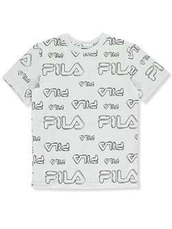 Boys' Allover Logo T-Shirt by Fila in White, Sizes 8-20