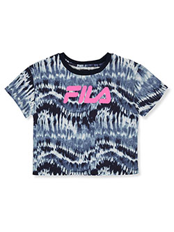 Flia Girls' Tie Dye Crop Top by Fila in navy and white, Girls Fashion