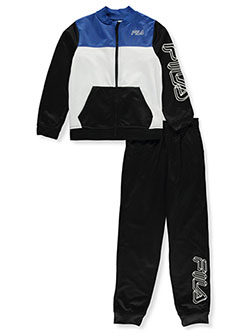 Boys' 3D Line Logo 2-Piece Tracksuit Outfit by Fila in black and navy, Sizes 8-20