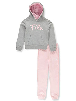 Girls' 2-Piece Sweatshirt and Joggers Set by Fila in heather gray and hot pink