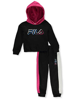 Girls' Color Shadow 2-Piece Sweatsuit Outfit by Fila in black and white