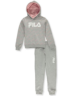 Girls' Classic Logo 2-Piece Sweatsuit Outfit by Fila in Gray