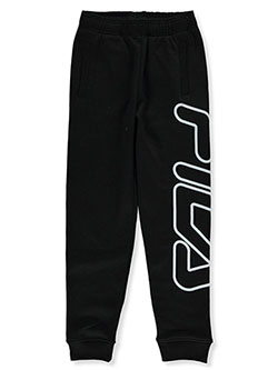 Boys' Oversized Logo Joggers by Fila in black and heather gray, Boys Fashion