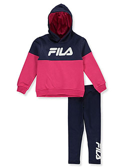 Girls' Paneled 2-Piece Leggings Set Outfit by Fila in hot pink and pink