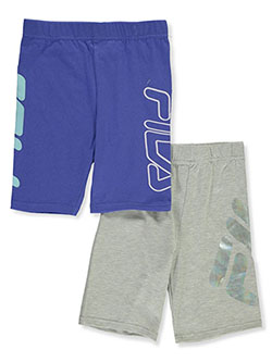 Girls' 2-Pack Biker Shorts by Fila in heather gray and navy