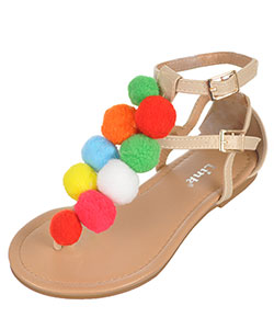 "Link Girls' ""Pom Pom Party"" Sandals (Toddler Sizes 9 – 12) - CookiesKids.com"