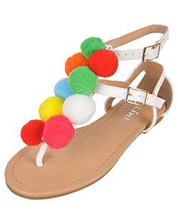 "Link Girls' ""Pom Pom Party"" Sandals (Youth Sizes 13 – 4) - CookiesKids.com"