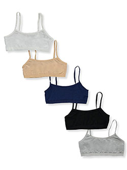 Girls' 5-Pack Sports Bras by Simply Adorable in White/multi