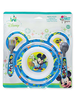 Mickey Mouse 4-Piece Feeding Set by Disney in red and turquoise/multi