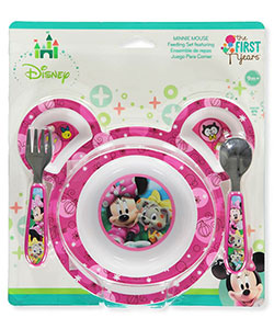Minnie Mouse 4-Piece Feeding Set by Disney in Fuchsia, Infants