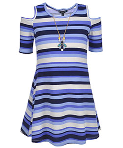 "My Michelle Big Girls' ""Petra"" Cold Shoulder Dress with Necklace (Sizes 7 – 16) - CookiesKids.com"
