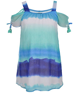 "My Michelle Big Girls' ""Rolling Waves"" Cold Shoulder Dress (Sizes 7 – 16) - CookiesKids.com"