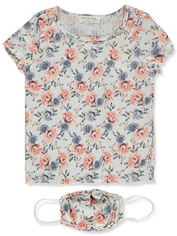 Girls' Floral Top With Mask Set by Full Circle Trends in Rose