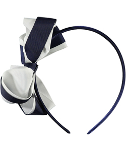 """Grosgrain Stripe"" Headband by French Toast in Navy/white"