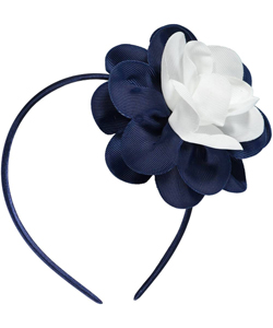 """Grosgrain Flower"" Headband by French Toast in Navy/white"