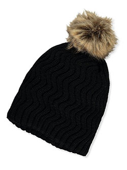 Squiggle-Knit Beanie with Pom Pom by Trulfit in black, brown, royal blue and more, Girls Fashion