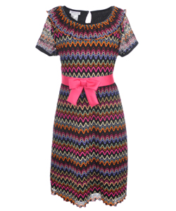 "Bonnie Jean Big Girls' Plus ""Zigzag Knit"" Dress (Sizes 12.5 – 20.5) - CookiesKids.com"