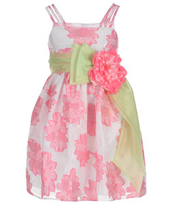 "Bonnie Jean Little Girls' ""Embroidered Peony"" Dress (Sizes 4 – 6X) - CookiesKids.com"