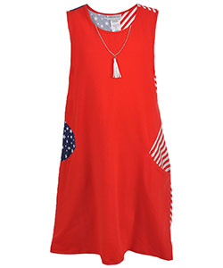 "Bonnie Jean Big Girls' Plus Size ""Paneled Patriot"" Dress with Necklace (Sizes 14.5 – 20.5) - CookiesKids.com"