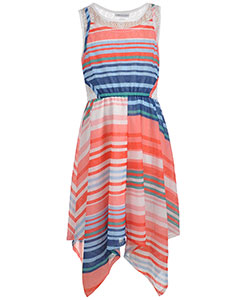 "Bonnie Jean Big Girls' Plus Size ""Gauzy Stripes"" Dress (Sizes 14.5 – 20.5) - CookiesKids.com"