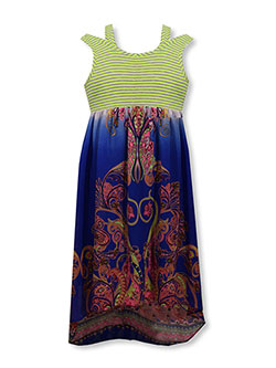 "Bonnie Jean Big Girls' ""Paisley Cold Shoulder"" Dress (Sizes 7 – 16) - CookiesKids.com"