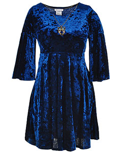 Bonnie Jean Big Girls' Plus Size Crushed Velvet Dress with Necklace (Sizes 12.5 – 20.5) - CookiesKids.com