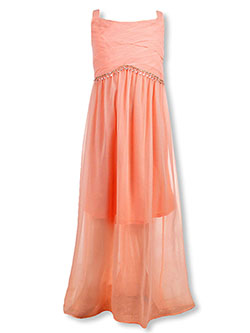 Girls' Plus Size Dress by Bonnie Jean in peach and pink
