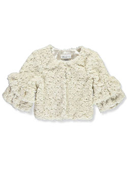 Layered Rosette Faux Fur Shrug by Bonnie Jean in Beige, Sizes 4-6X
