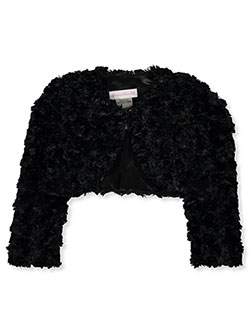 Girls' Plush Rosette Faux Fur Shrug by Bonnie Jean in Black, Sizes 2T-4T