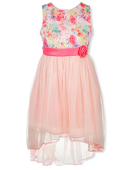 Plus Size Splattered Lace Hi-Low Dress by Bonnie Jean in Pink