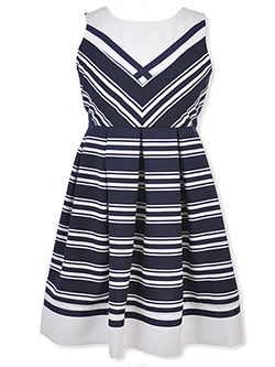 Plus Size Contrast Striped Dress by Bonnie Jean in Navy, Sizes 7-16