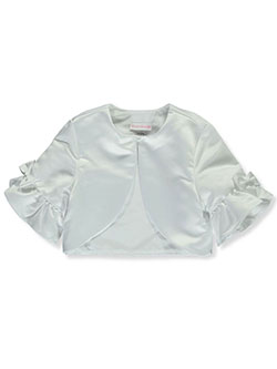 Girls' Layered Satin Shrug by Bonnie Jean in White, Sizes 7-16