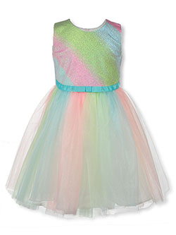 Little Girls' Striped Pastel Dress by Bonnie Jean in Multi, Sizes 2T-4T