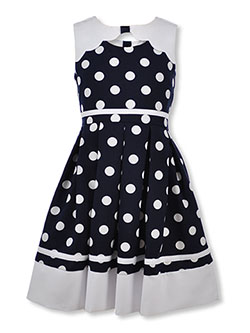 Girls' Contrast Polka Dot Dress by Bonnie Jean in Navy, Sizes 2T-4T