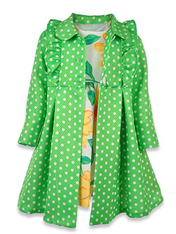 Polka Dot Dress with Coat 2-Piece Set Outfit by Bonnie Jean in Green, Sizes 4-6X
