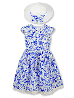Girls' Floral Eyelet Dress with Hat by Bonnie Jean in Blue