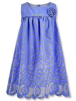 Girls' Gingham Rosette Dress by Bonnie Jean in blue and pink cherry