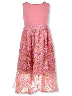 Girls' Lace Overlay Hi-Low Dress by Bonnie Jean in Rose