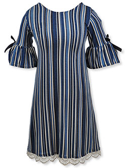 Girls' Plus Size Bell Sleeve Dress by Bonnie Jean in Blue